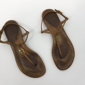 Tory Burch brown leather t strap sandals